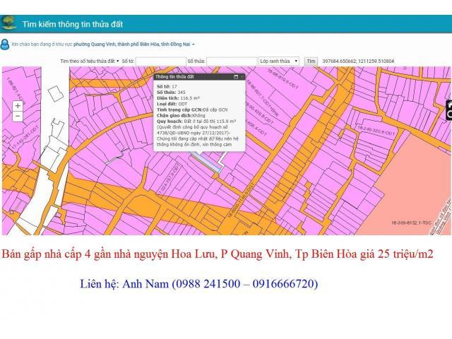 Cần bán nhà 240m2 P. Quang Vinh, Tp Biên Hòa, không quy hoạch, thổ cư hết giá 25 triệu/m2