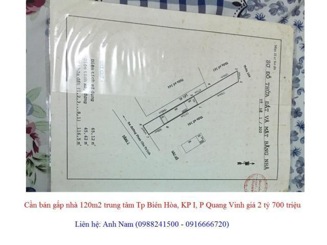 Cần bán gấp nhà 120m2 trung tâm Tp Biên Hòa, KP I, P Quang Vinh giá 2 tỷ 700 triệu