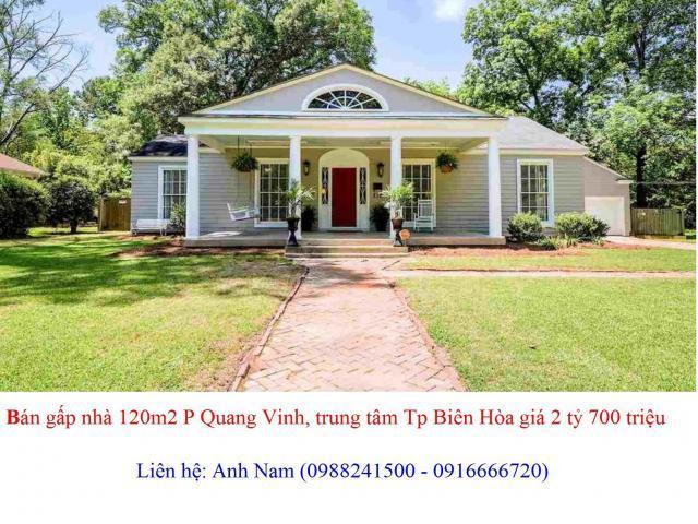 Chính chủ, bán gấp nhà 120m2 P Quang Vinh, trung tâm Tp Biên Hòa, sổ hồng, thổ cư