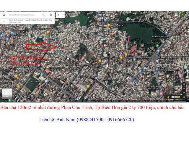 Cần bán gấp nhà 120m2 đất đường Phan Chu Trinh, trung tâm Tp Biên Hòa giá 2 tỷ 700 triệu