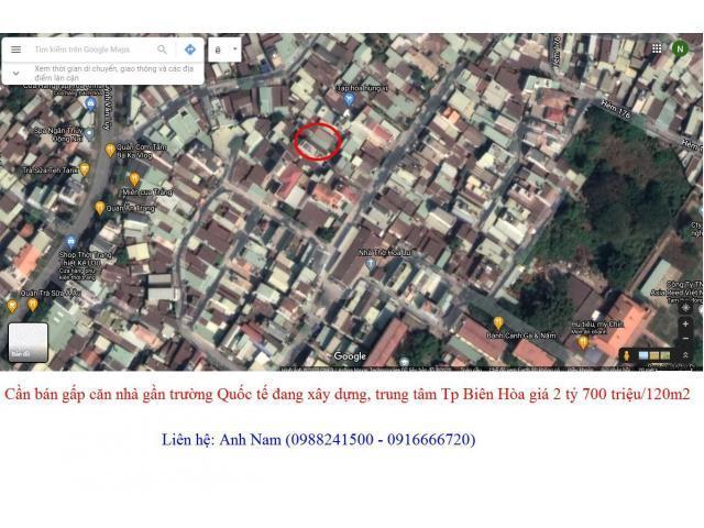 Cần bán gấp căn nhà gần trường Quốc tế đang xây dựng, Tp Biên Hòa giá 2 tỷ 700 triệu/120m2