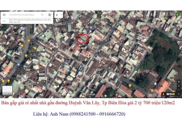 Bán gấp giá rẻ nhất nhà gần đường Huỳnh Văn Lũy, Tp Biên Hòa giá 2 tỷ 700 triệu/120m2