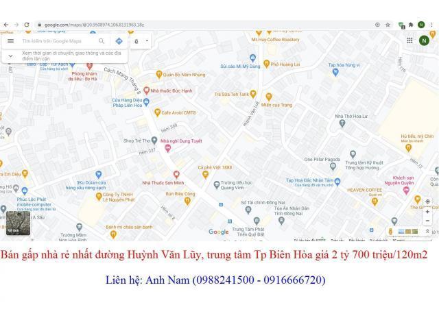 Bán gấp nhà rẻ nhất đường Huỳnh Văn Lũy, trung tâm Tp Biên Hòa giá 2 tỷ 700 triệu/120m2