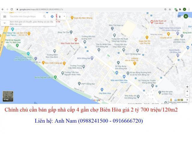 Chính chủ cần bán gấp nhà cấp 4 gần chợ Biên Hòa giá 2 tỷ 700 triệu/120m2, thương lượng nhẹ