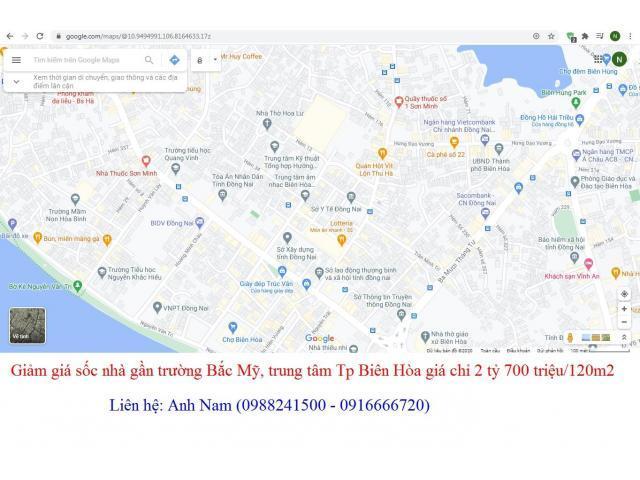 Chính chủ bán gấp nhà gần trường Quốc tế, khu trung tâm Tp Biên Hòa giá 2 tỷ 700 triệu/120m2