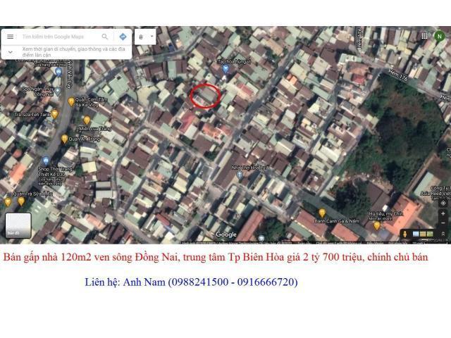 Cần bán gấp nhà riêng 3 PN, ven sông Đồng Nai, Tp Biên hòa giá 2 tỷ 700 triệu/120m2