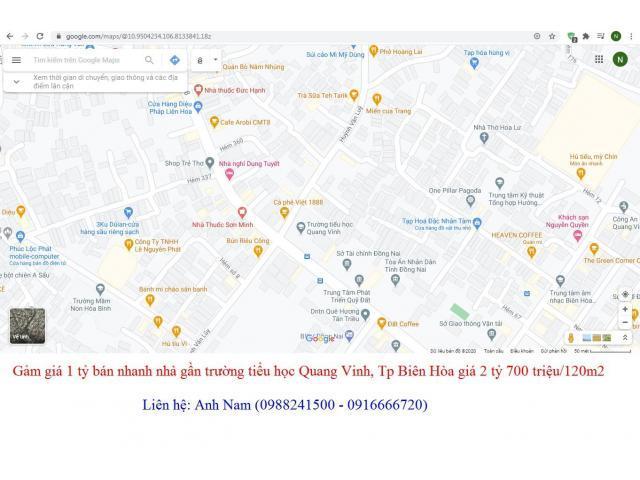 Giảm giá bán nhanh nhà gần trường tiểu học Quang Vinh, Tp Biên Hòa giá 2 tỷ 700 triệu/120m2