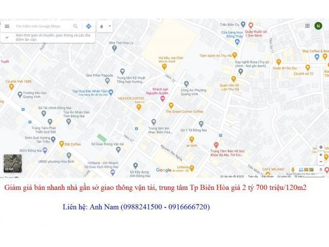 Cần bán gấp nhà gần sở giao thông vận tải, Tp Biên Hòa giá 2 tỷ 700 triệu/120m2