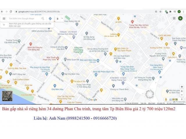 Sang gấp căn nhà hẻm 34 đường Phan Chu Trinh, P Quang Vinh, Tp Biên Hòa giá 2 tỷ 7 /120m2