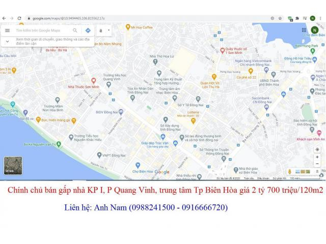 Bán gấp nhà thửa 345 tờ 17 KP I, P Quang Vinh, trung tâm Tp Biên Hòa giá 2 tỷ 500 triệu/120m2