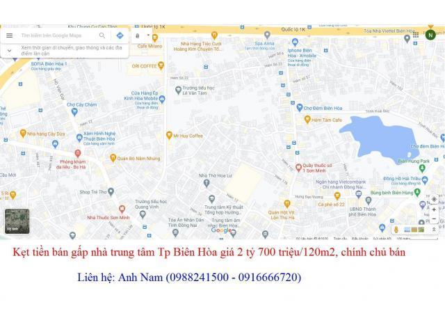 Gần Tết, bán nhanh nhà 120m2 trung tâm Tp Biên Hòa giá 2 tỷ 500 triệu, chính chủ bán