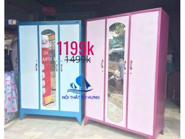 tủ sắt đựng quần áo 3 cánh giá rẻ Tphcm