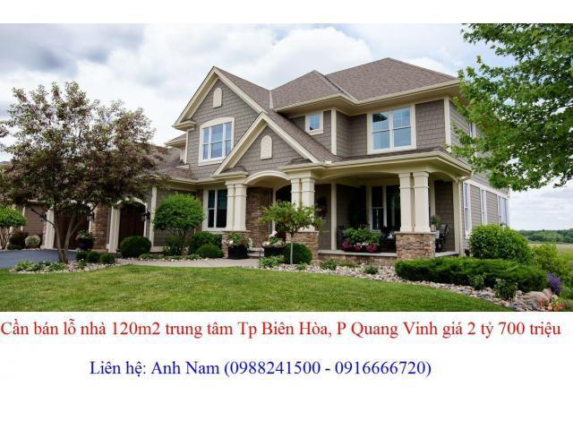 Bán 2 căn nhà 120m2 gần trường SNA, trung tâm Tp Biên Hòa giá 2 tỷ 700 triệu, chính chủ bán