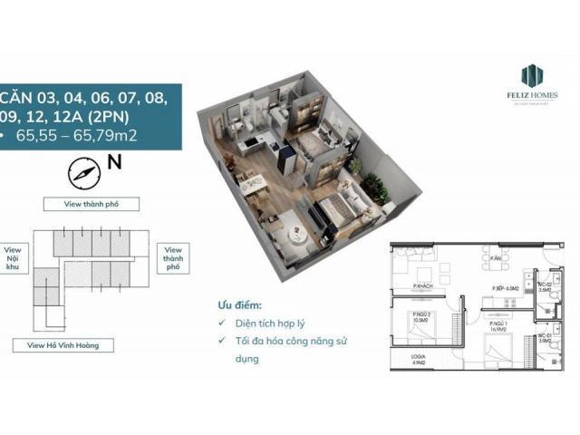 Mở bán căn hộ 2PN 65m2 giá 2 tỷ, HTLS 0% đến khi nhận nhà