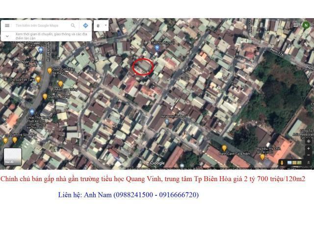 bán gấp nhà riêng 120m2 gần trường tiểu học Quang Vinh, Tp Biên Hòa giá 2 tỷ 700 triệu